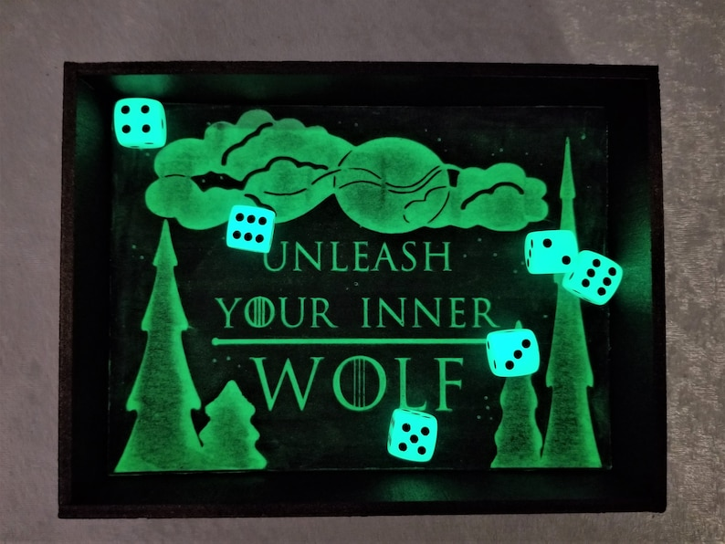 Dice tray for board games  Table Top Games  Gifts for Him  Best Gifts for Men  Glow in the Dark  Table Games  RPG