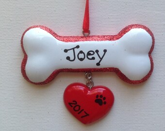Personalized Pet Dog Bone Christmas Ornament- Pet's First Christmas- Hand Personalized
