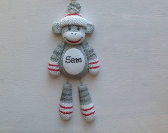 Sock Monkey Personalized Christmas Ornament- Birthday Party Favors- Free Personalization
