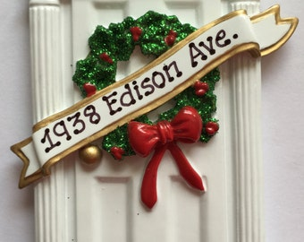 personalized white door christmas ornament new home our first homehostess gift real estate client gift