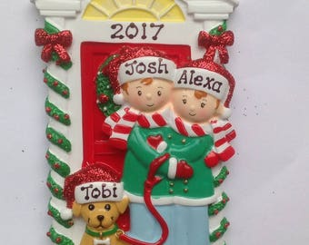 personalized christmas ornament newlywed couple with dog new home new couples first christmas pets 1st christmas