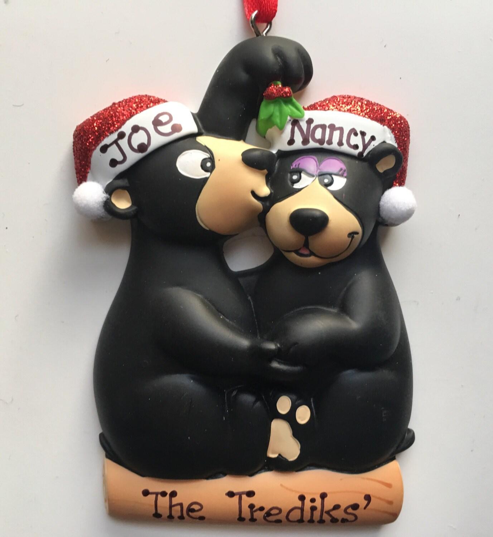 Personalized Kissing Under The Mistletoe Black Bear