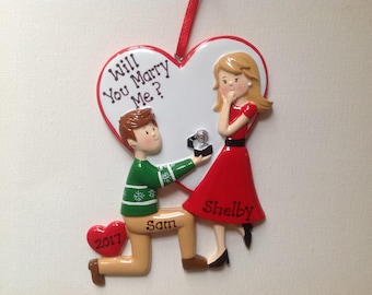33% Off Personalized 2017 Engagement Couple Christmas Ornament - We're Engaged! -She Said Yes! - Will You Marry Me? - Engagement Ring