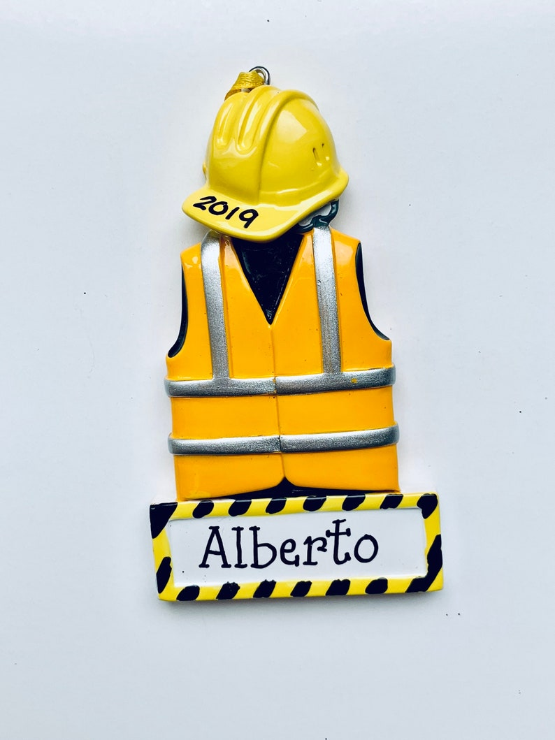 Construction Worker Personalized  Christmas Ornament,Baby Boy/'s First Christmas Construction Company Corporate Gifts First Job