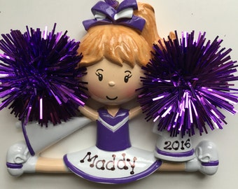 Personalized Purple Cheerleader Christmas Ornament