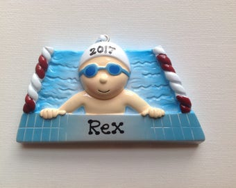 Personalized Boy Swimmer , Swimming, Water Sports, Olympics, Christmas Ornament