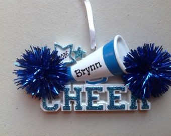 33% Off Personalized Blue Cheerleader Megaphone with Pom Pom Christmas  Ornament