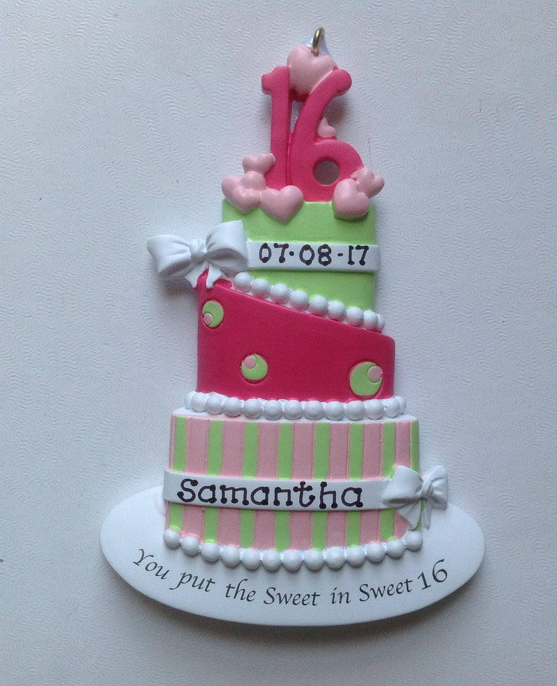 Sweet 16 Personalized Hot Pink Lime Green Birthday Cake