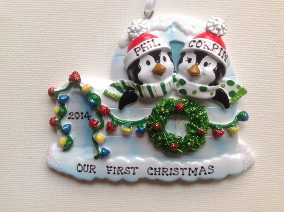 Grandparents Newlywed Couple/'s 1st Christmas BFFs Personalized Moose Family of Two  Christmas Ornament Twins 1st CHristmas
