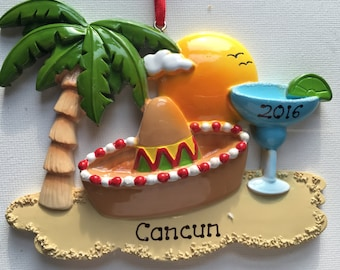 33% Off Personalized Christmas Ornament Cancun, Mexico , Hawaii, Honolulu,Sombrero, Vacation, Wedding Favor Gift