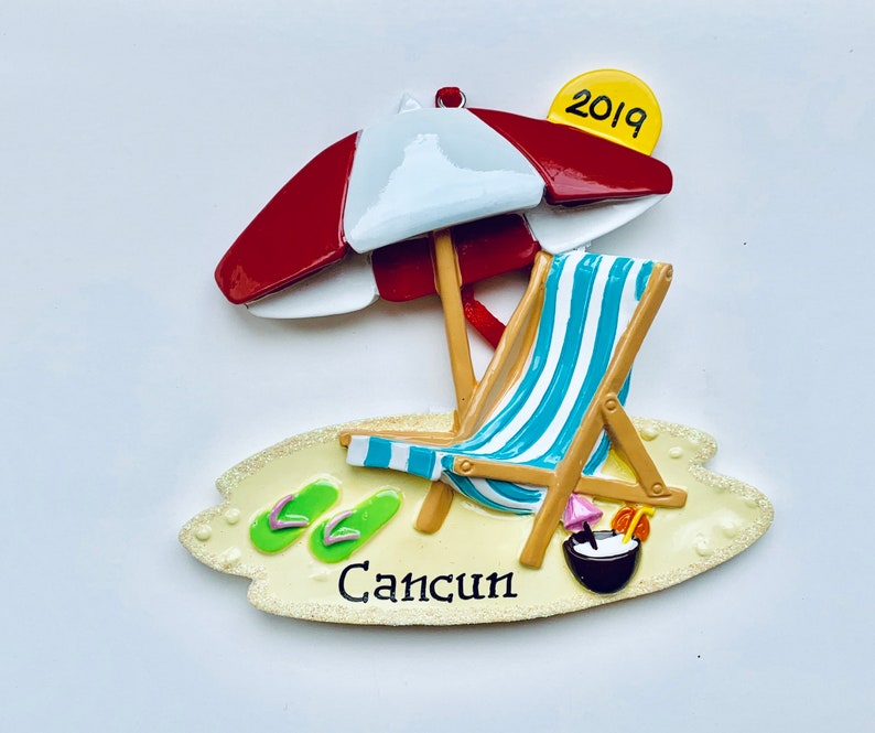 Christmas In Cancun 2019.Beach Chair Personalized Christmas Ornament Cancun Mexico Hawaii Honolulu Sombrero Vacation Wedding Favor Gift