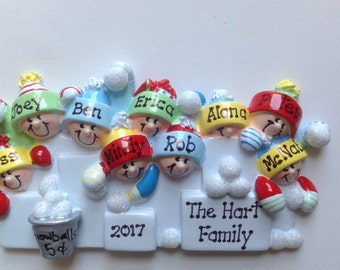 Personalized Snowball Fight  Family of Nine Christmas Ornament -Grandma's Gang, Best Friends, Crew members, Coworkers, Bridesmaids