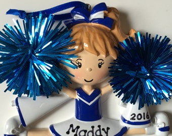 Personalized Blue Cheerleader Christmas Ornament