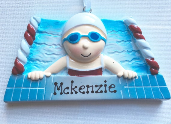 Water Sports Olympics Swimming Personalized Boy Swimmer Christmas Ornament