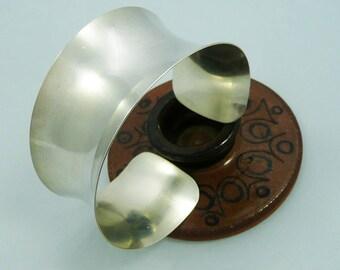 Wide Sterling Silver Cuff Bracelet #HandmadeSilverBracelet#25thAnniversaryGift#ArtisanWear#ModernMetalJewelry#SilverAnniversaryJewelry#Cuff
