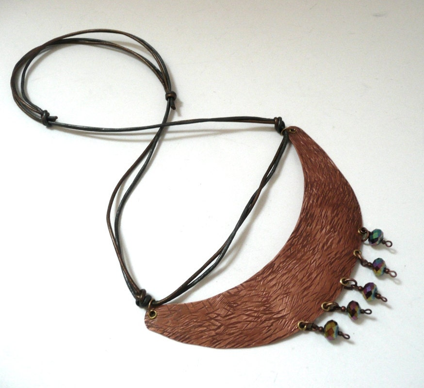 Hammered Copper Crescent Necklace With Czech Fire-Polished