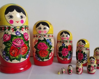 Very cute matryoshka Semenova, nesting doll 10 PCs