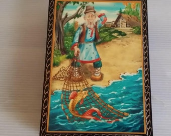 Beautiful lacquered box Russian tale of the fisherman and the fish