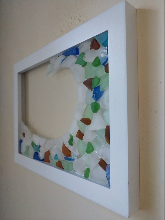 Mixed Color Framed Sea Glass Wave