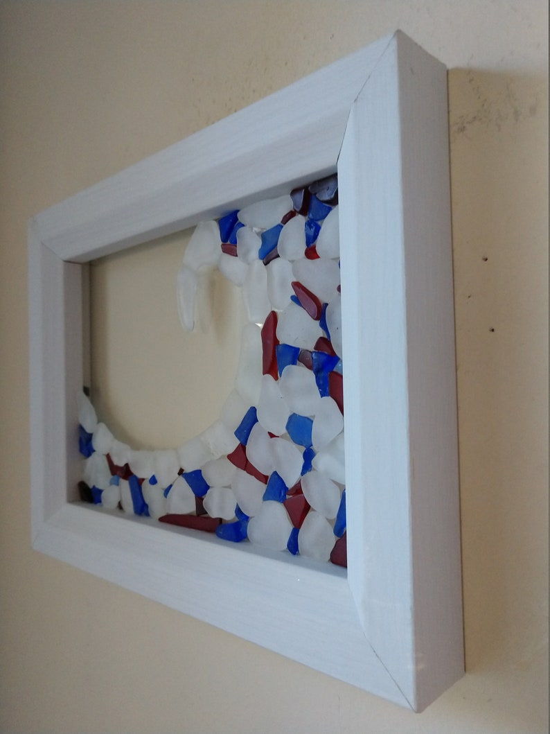Red Framed Sea Glass Wave White and Blue