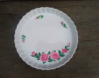 10 in Pie Pan with Pink Roses Christineholm Decorative ... & Floral pie plate   Etsy