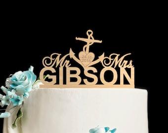 Navy wedding cake topper,navy wedding,Anchor wedding cake topper,Wedding anchor topper,nautical wedding cake,anchor wedding cake,6032017