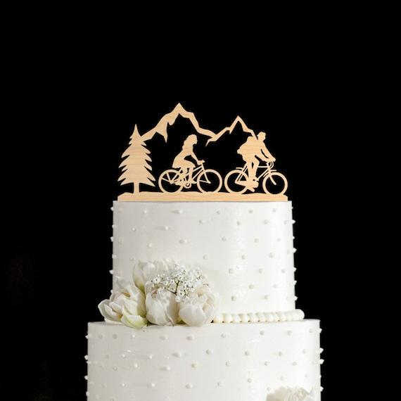 Vélo cake topper, gâteau de vélo, cycliste de gâteau, montagne de gâteau, unique mariage de gâteau, gâteau de voyage, de gâteau, 806