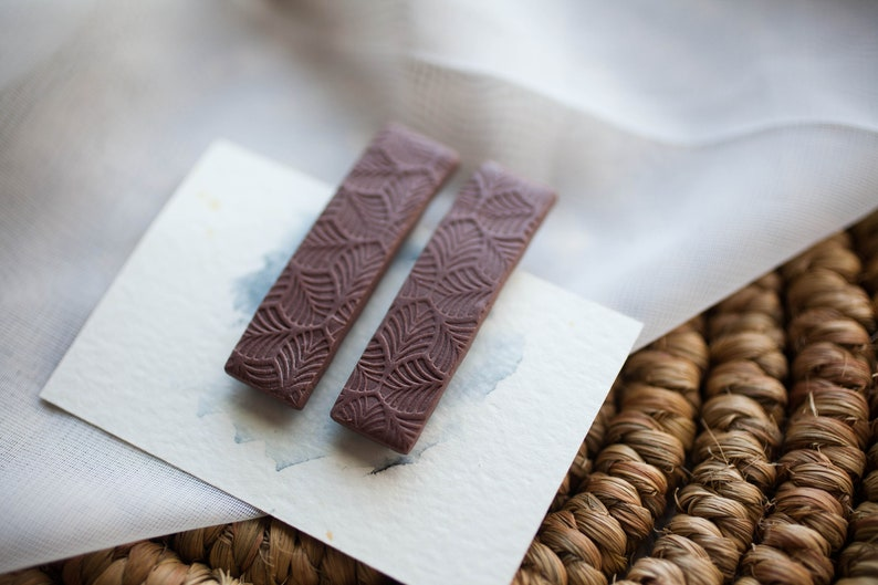 set of 2 Dark Chocolate brown with a leaf textured surface Medium Polymer Clay Hair Clips