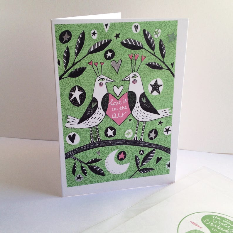 Valentine/'s Day Card A5 -Love is in the Air very romantic green and pink illustrated card. two birds just going to kiss