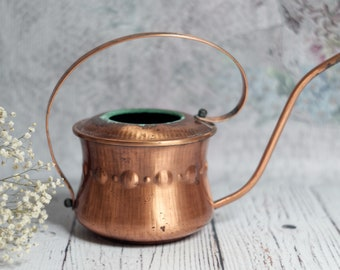 Copper Watering Can, Indoor Use, Mid Century Modern, Gardening Gift, Metal Watering Can, Vintage Watrering Can, Rustic Copper Decor