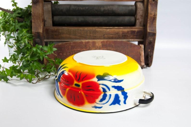 mixing bowl vintage enamelware Enamel bowl with handles fruit bowl camping bowl serving bowl rustic bowl bowl with flower