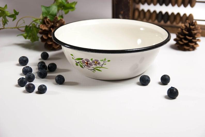 soup bowl vintage enamelware Enamel bowl fruit bowl serving bowl metal bowl camping bowl shabby chic dish salad bowl rustic bowl