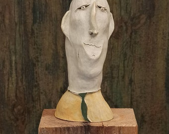Character head, bust, sculpture of white ceramic, hand-formed and carved, frost hardy