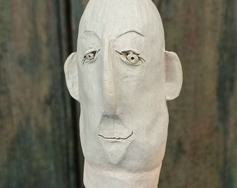 Character head, ceramic sculpture, hand-shaped and carved, frost hardy