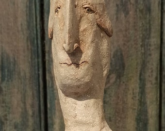 Character head, head of clay, ceramic, figure, hand-formed, painted, double burned, frost hardy, with wooden platform.