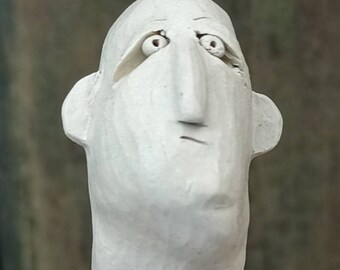 Men's head, art object, sculpture of fine stoneware, white ceramic, hand-formed, carved, painted, frost hardy
