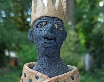 Character head, king, ceramic sculpture, hand-formed and carved, frost hardy