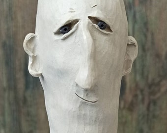 Character head, head, men's head, bust, ceramic sculpture, hand-formed and carved, frost hardy