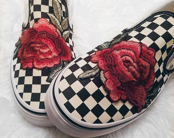 9c585c75cc Unisex Checkered Slip On Custom Rose Floral Embroidered Patch Vans