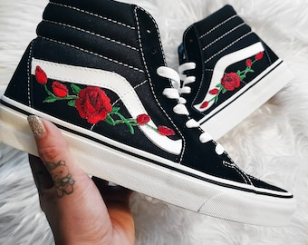 0c5196e0bc Unisex Sk8-Hi Rose Buds Red Blk Custom Rose Floral Embroidered Patch Vans
