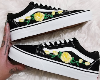 vans with roses embroidered