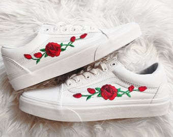 Rose Buds Red Wht Unisex Custom Rose Embroidered-Patch Vans Old-Skool  Sneakers f2546c120
