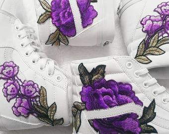 5758302fc391 True White Rose Floral Embroidered Patch Vans Sk8-HI