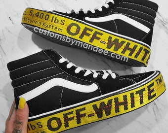 8f72057c78 Sk8-HI Platform 2.0 Off-White Inspired Womens Custom Vans