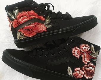 Unisex Black On Custom Rose Floral Embroidered Patch Vans Sk8 HI