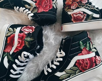 Size Mens 3.5   Womens 5.0 Unisex Custom Rose Floral Embroidered Patch Vans  Sk8-HI 88ed7ad1b