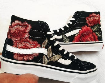Womens Custom Rose Floral Embroidered Patch Vans Sk8-HI SLIM b9c9bc76a