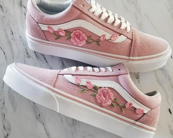 e347643436be Pink Pink RoseBuds Custom Vans Old-Skool Sneakers