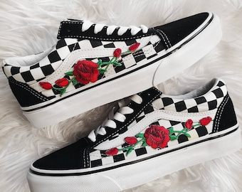 bfa55c49a16 Checkered RoseBuds Custom Rose Embroidered-Patch Vans Old-Skool Sneakers