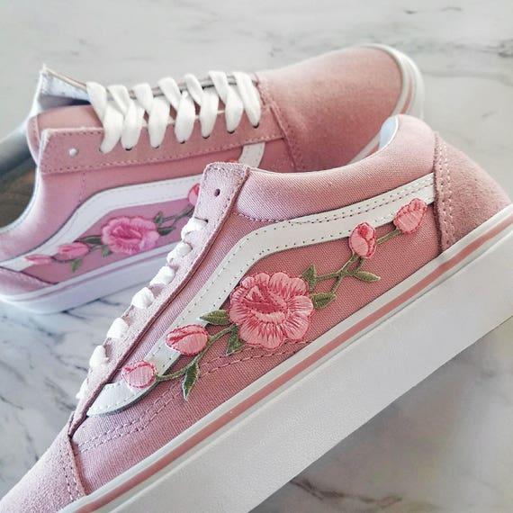 Roses Roserose Boutons SkoolEtsy Baskets Old De Personnalisé Vans 4L5ARj